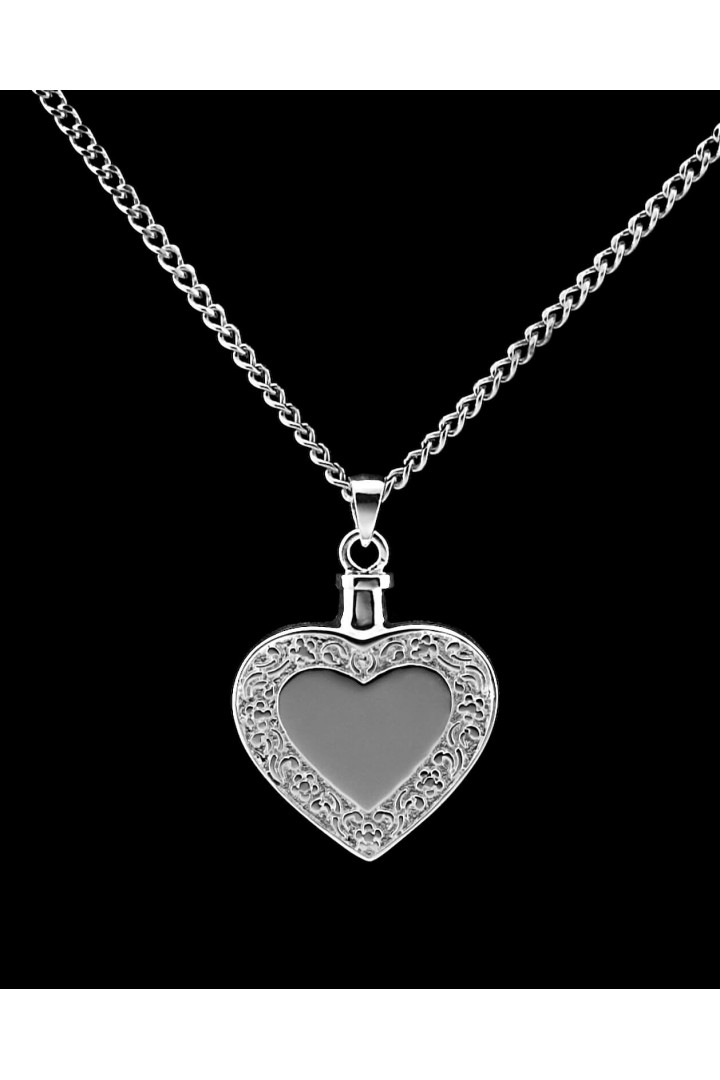 Sterling Silver Heart with Border Cremation Pendant #36-539